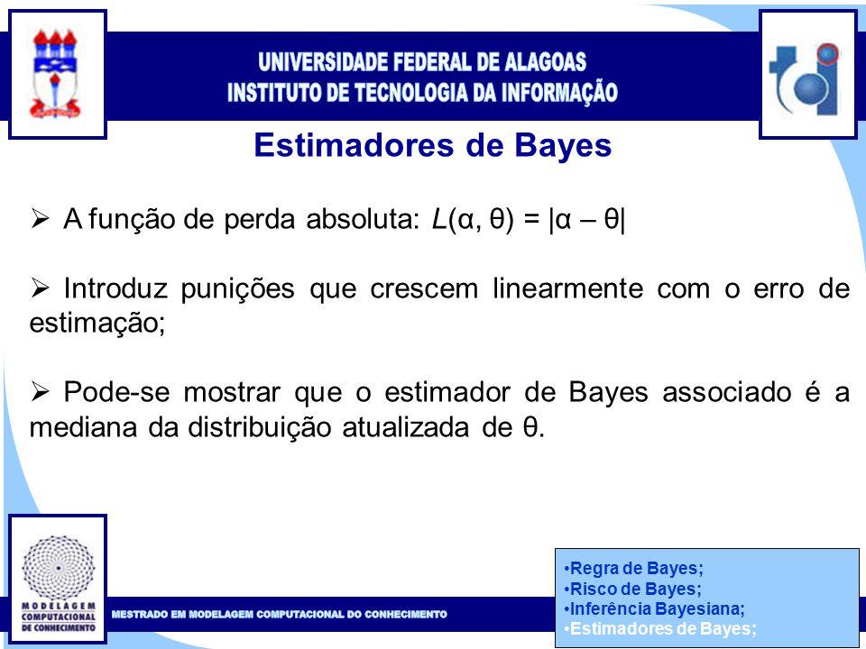 Clique para editar o estilo do título mestre Clique para editar o estilo do subtítulo mestre 49 Estimadores de Bayes Regra de Bayes; Risco de Bayes; Inferência Bayesiana; Estimadores de Bayes;  A função de perda absoluta: L(α, θ) = |α – θ|  Introduz punições que crescem linearmente com o erro de estimação;  Pode-se mostrar que o estimador de Bayes associado é a mediana da distribuição atualizada de θ.