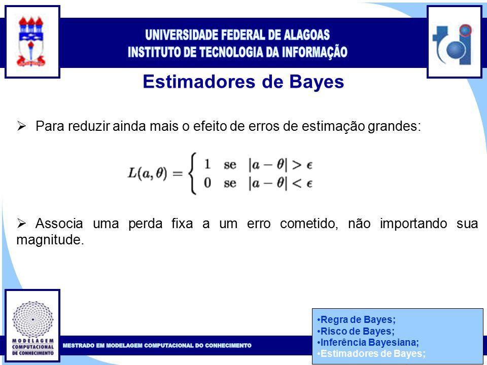 Clique para editar o estilo do título mestre Clique para editar o estilo do subtítulo mestre 50 Estimadores de Bayes Regra de Bayes; Risco de Bayes; Inferência Bayesiana; Estimadores de Bayes;  Para reduzir ainda mais o efeito de erros de estimação grandes:  Associa uma perda fixa a um erro cometido, não importando sua magnitude.