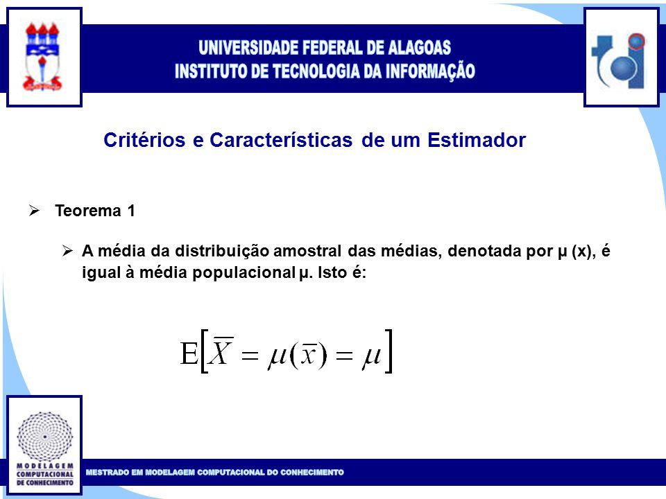 Clique para editar o estilo do título mestre Clique para editar o estilo do subtítulo mestre 7 Critérios e Características de um Estimador  Teorema 1  A média da distribuição amostral das médias, denotada por µ (x), é igual à média populacional µ.