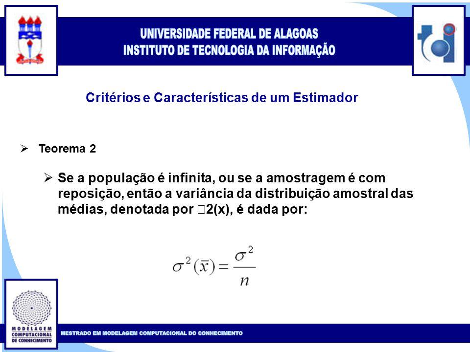 Clique para editar o estilo do título mestre Clique para editar o estilo do subtítulo mestre 8 Critérios e Características de um Estimador  Teorema 2  Se a população é infinita, ou se a amostragem é com reposição, então a variância da distribuição amostral das médias, denotada por  2(x), é dada por: