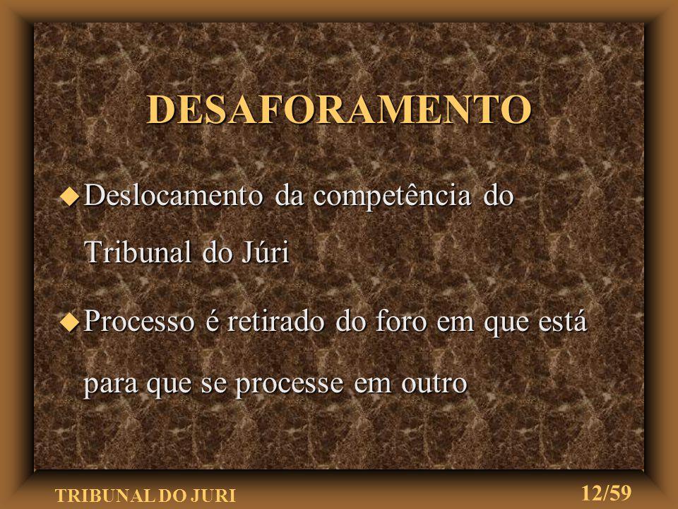 TRIBUNAL DO JURI 11/59 u Deverá constar: u Nome do réu Circunstâncias agravantes Fatos e circunstâncias que devam influir na fixação da sanção penal P