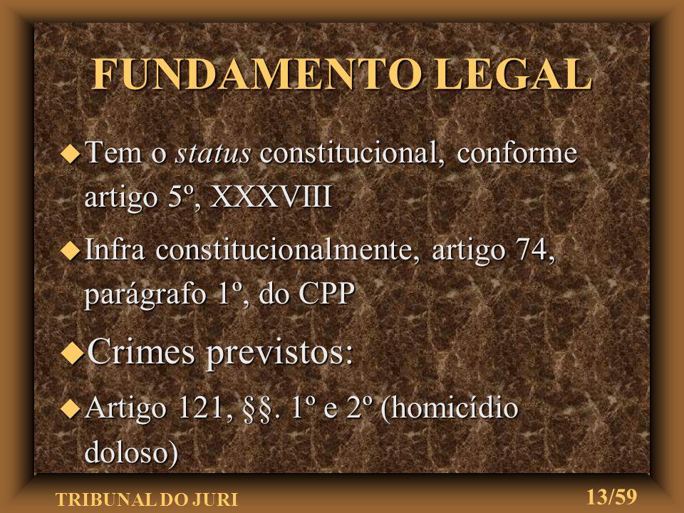 TRIBUNAL DO JURI 12/59 DESAFORAMENTO u Deslocamento da competência do Tribunal do Júri u Processo é retirado do foro em que está para que se processe