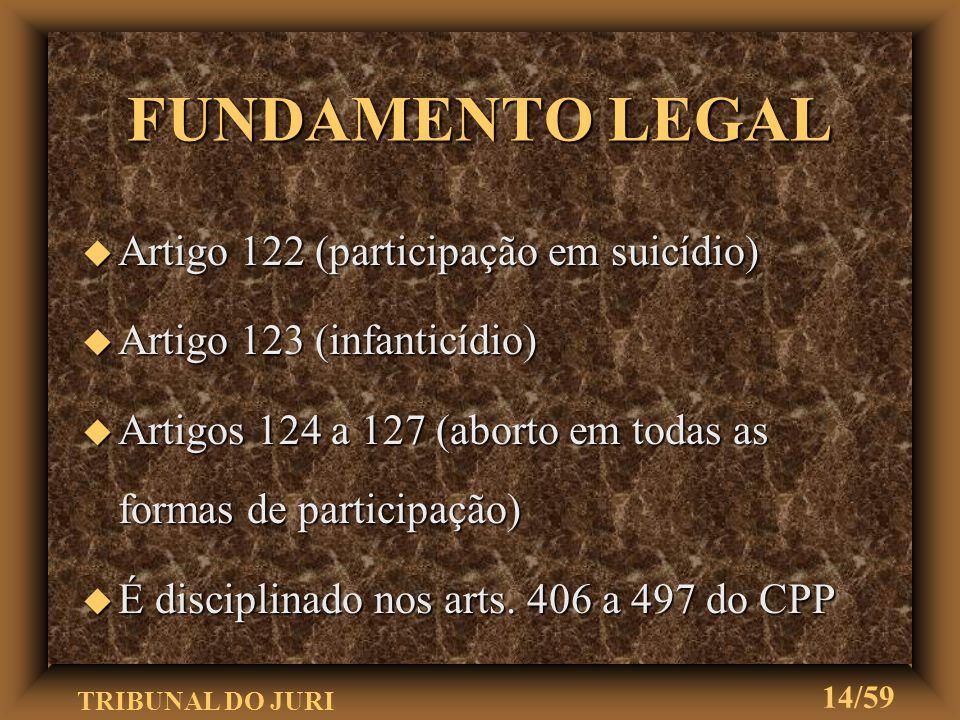 TRIBUNAL DO JURI 13/59 FUNDAMENTO LEGAL u Tem o status constitucional, conforme artigo 5º, XXXVIII u Infra constitucionalmente, artigo 74, parágrafo 1