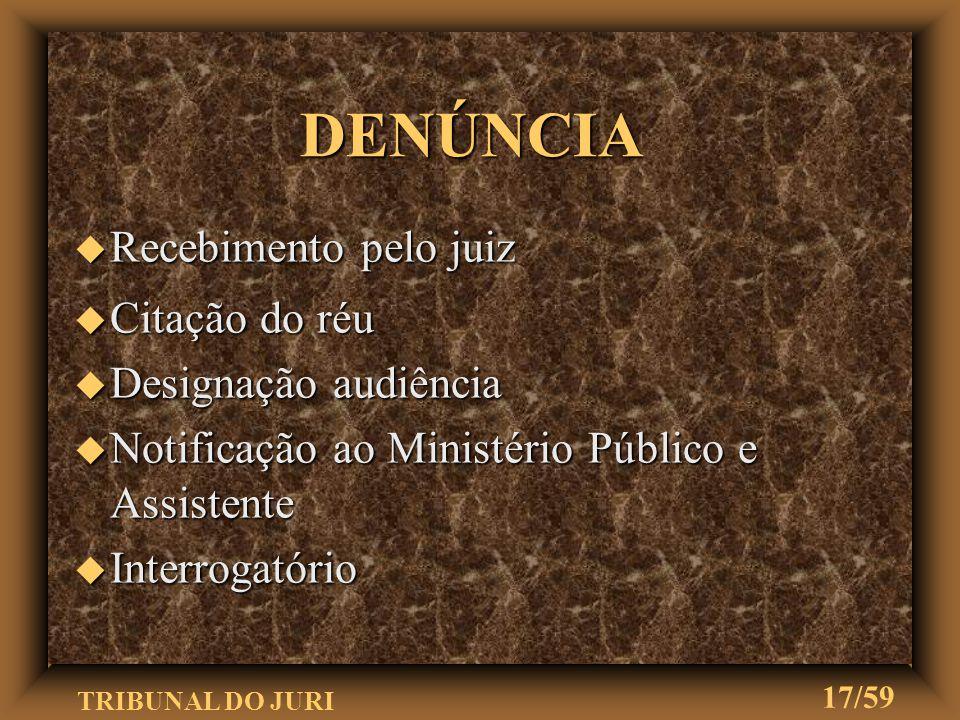 TRIBUNAL DO JURI 16/59 DENÚNCIA u Ministério Público oferece denúncia ou queixa