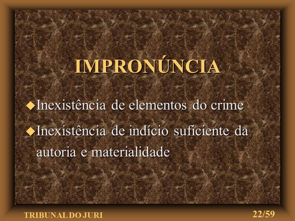 TRIBUNAL DO JURI 21/59 DESPACHO SANEADOR DESPACHO SANEADOR u Juiz ordena diligências para sanar u nulidades e suprir falhas (art. 407) u Conclusos os