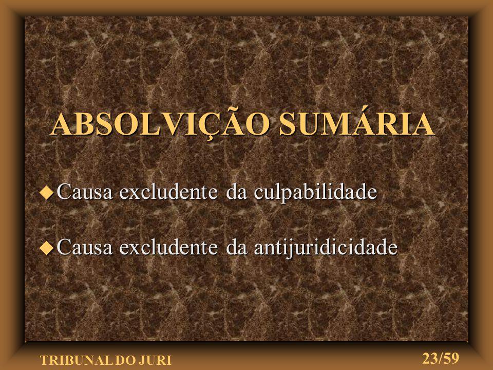 TRIBUNAL DO JURI 22/59 IMPRONÚNCIA u Inexistência de elementos do crime u Inexistência de indício suficiente da autoria e materialidade