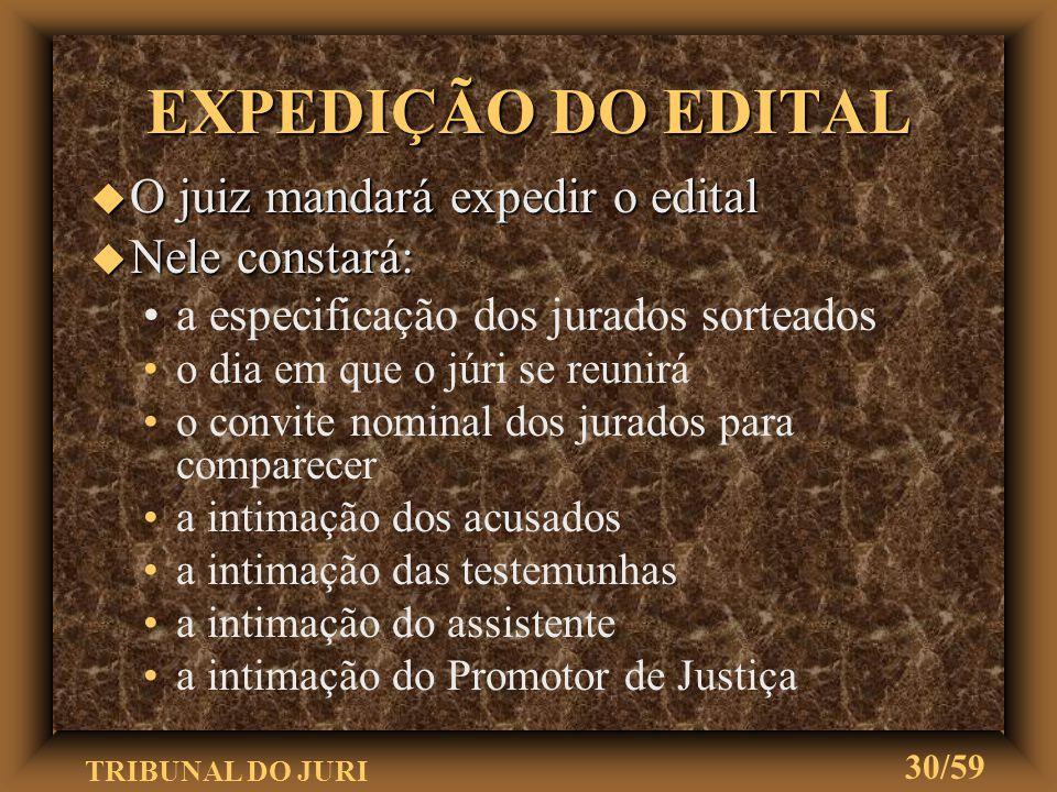 TRIBUNAL DO JURI 29/59 u Sorteio dos 21 jurados que tiverem de servir na seção u Convocação que far-se-á mediante edital CONVOCAÇÃO DO JÚRI