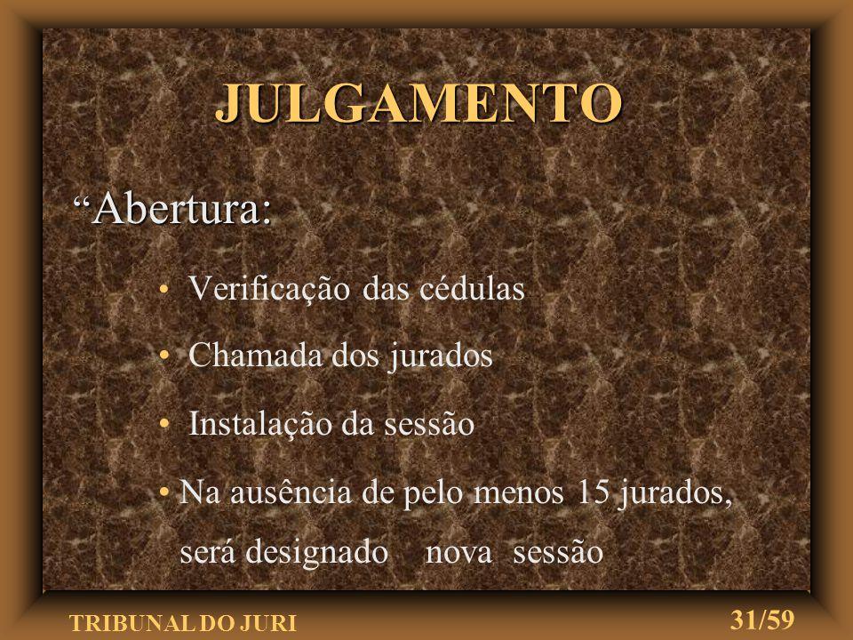 TRIBUNAL DO JURI 30/59 EXPEDIÇÃO DO EDITAL u O juiz mandará expedir o edital u Nele constará: a especificação dos jurados sorteados o dia em que o júr