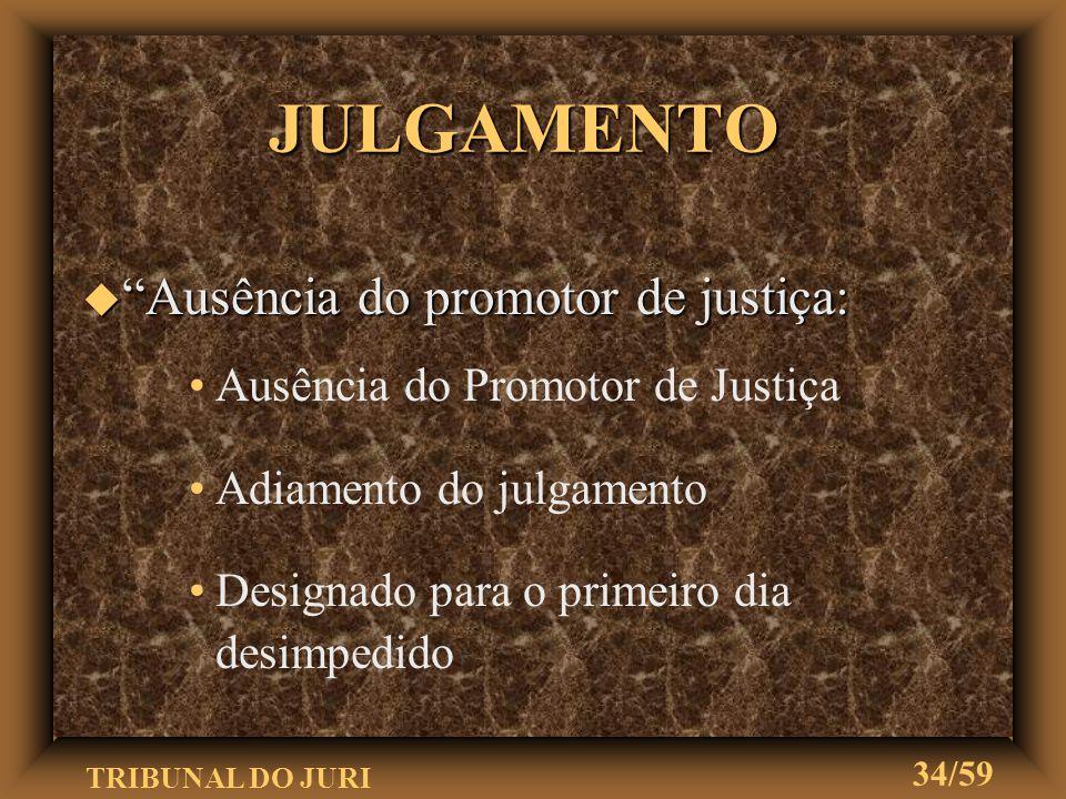 """TRIBUNAL DO JURI 33/59 """" Presença das partes: Tendo comparecido o acusado, o juiz lhe perguntará o nome, a idade e se possui defensor Não tendo defens"""