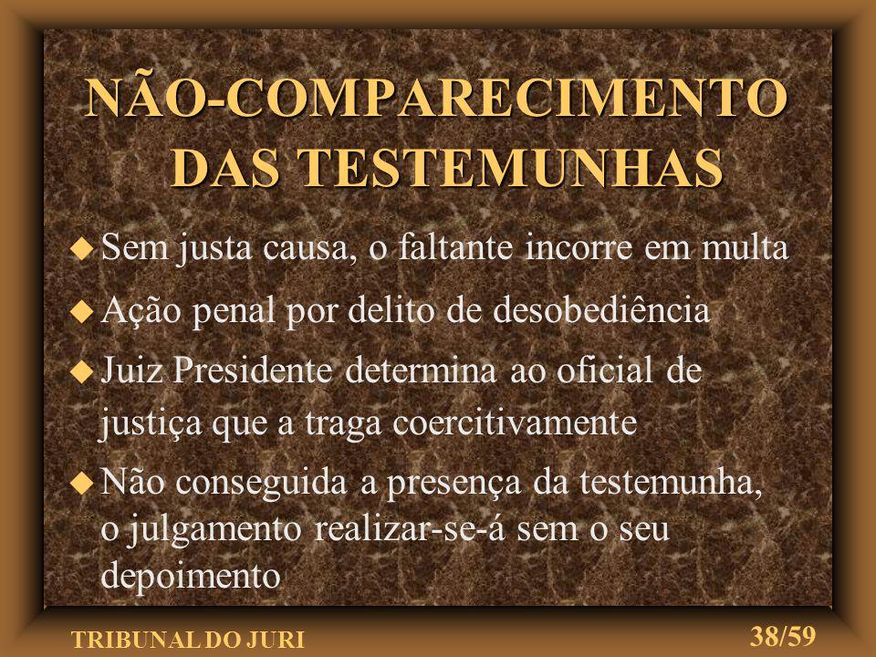 TRIBUNAL DO JURI 37/59 RECOLHIMENTO DAS TESTEMUNHAS u Testemunhas separadas as de acusação das de defesa u Deverão ser recolhidas a lugar de onde não