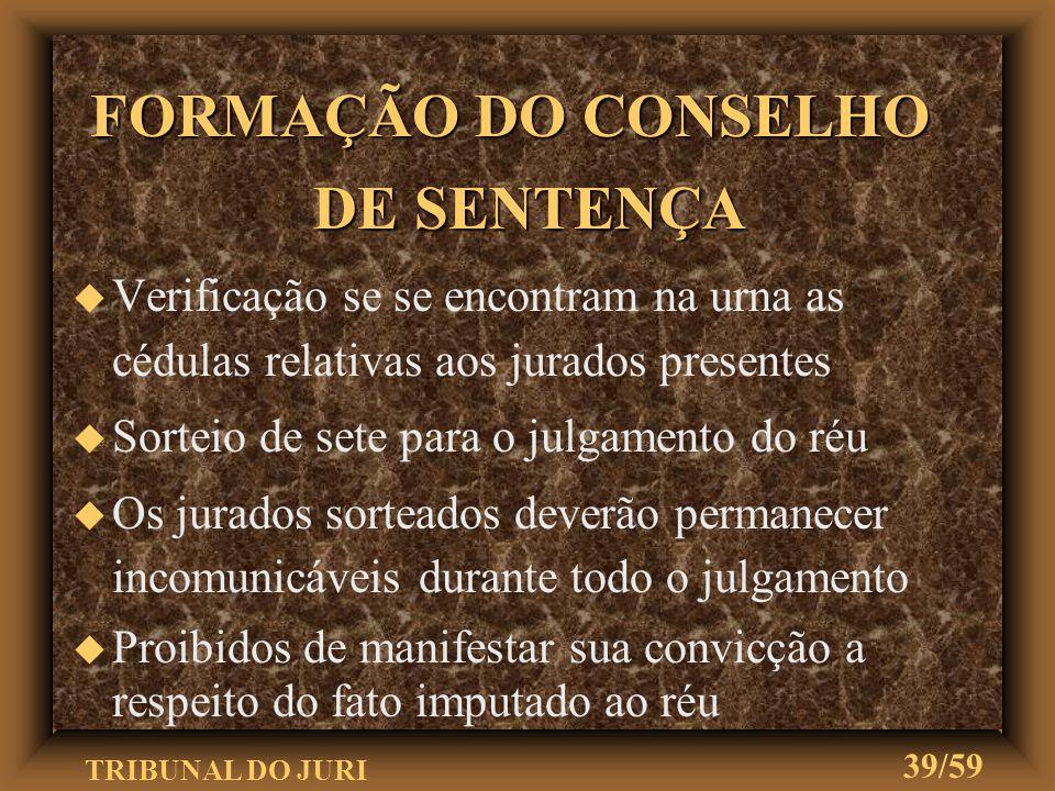 TRIBUNAL DO JURI 38/59 NÃO-COMPARECIMENTO DAS TESTEMUNHAS NÃO-COMPARECIMENTO DAS TESTEMUNHAS u u Sem justa causa, o faltante incorre em multa u u Ação