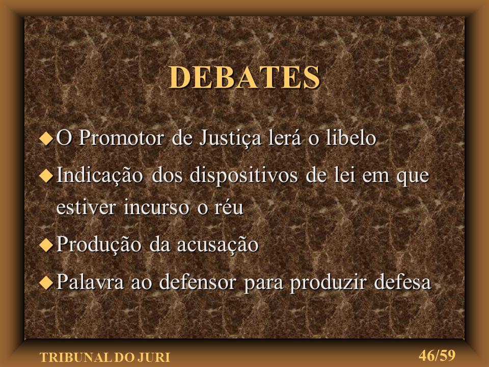 TRIBUNAL DO JURI 45/59 u Será observada a mesma ordem do item anterior INQUIRIÇÃO DAS TESTEMUNHAS DA DEFESA