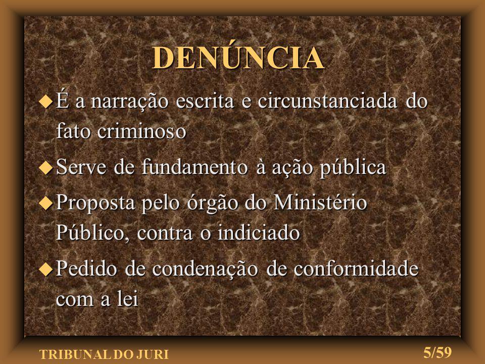 TRIBUNAL DO JURI 25/59 u Existência elementos da existência do crime u Existência indícios da autoria u Intimação da sentença PRONÚNCIA
