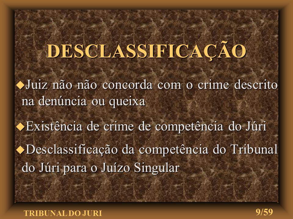 TRIBUNAL DO JURI 8/59 IMPRONÚNCIA u Julgamento de inadmissibilidade da imputação para o julgamento perante o Tribunal do Júri u Caso em que o juiz não
