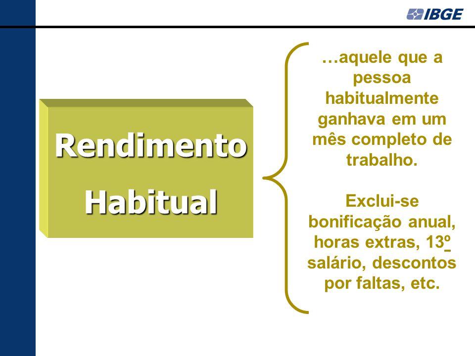RendimentoHabitual …aquele que a pessoa habitualmente ganhava em um mês completo de trabalho.