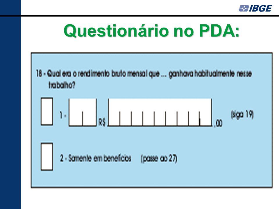 Questionário no PDA: