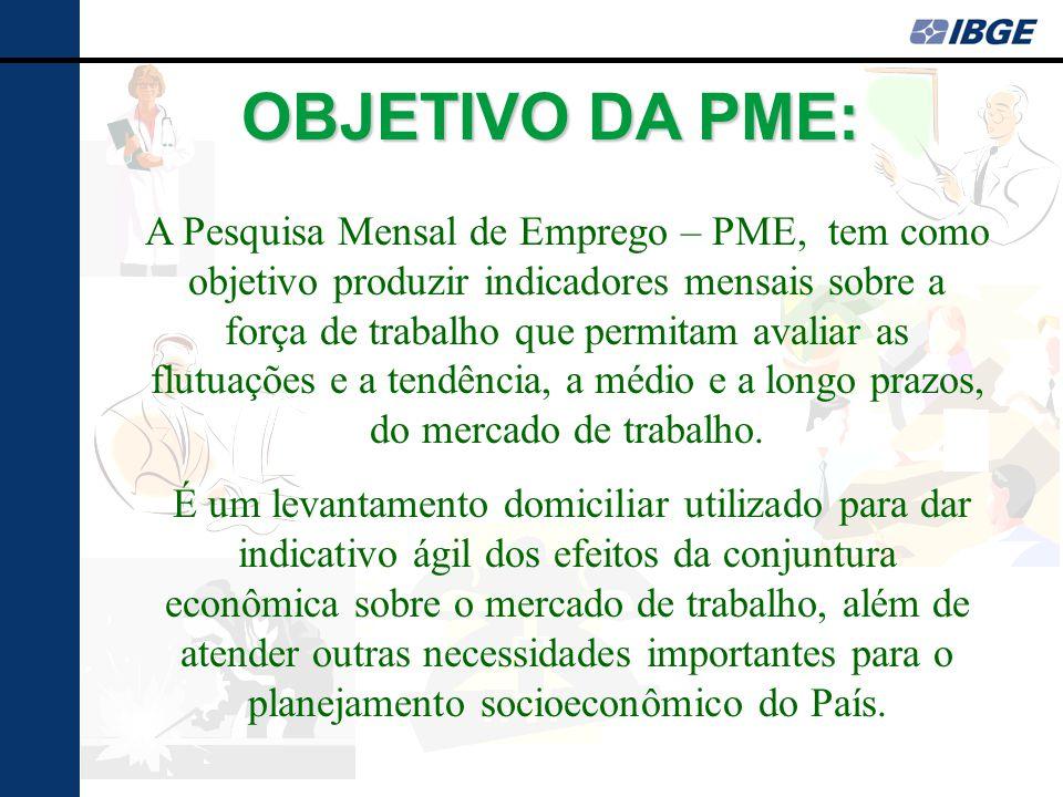 OBJETIVO DA PME: A Pesquisa Mensal de Emprego – PME, tem como objetivo produzir indicadores mensais sobre a força de trabalho que permitam avaliar as flutuações e a tendência, a médio e a longo prazos, do mercado de trabalho.