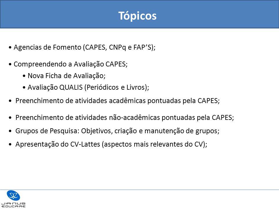 Agencias de Fomento (CAPES, CNPq e FAP'S); Compreendendo a Avaliação CAPES; Nova Ficha de Avaliação; Avaliação QUALIS (Periódicos e Livros); Preenchimento de atividades acadêmicas pontuadas pela CAPES; Preenchimento de atividades não-acadêmicas pontuadas pela CAPES; Grupos de Pesquisa: Objetivos, criação e manutenção de grupos; Apresentação do CV-Lattes (aspectos mais relevantes do CV); Tópicos