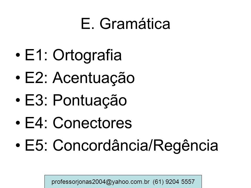 E. Gramática E1: Ortografia E2: Acentuação E3: Pontuação E4: Conectores E5: Concordância/Regência professorjonas2004@yahoo.com.br (61) 9204 5557