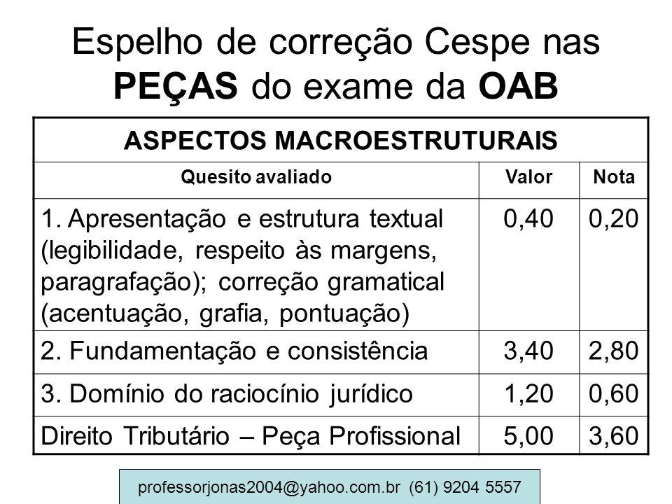 Espelho de correção Cespe nas PEÇAS do exame da OAB ASPECTOS MACROESTRUTURAIS Quesito avaliadoValorNota 1. Apresentação e estrutura textual (legibilid