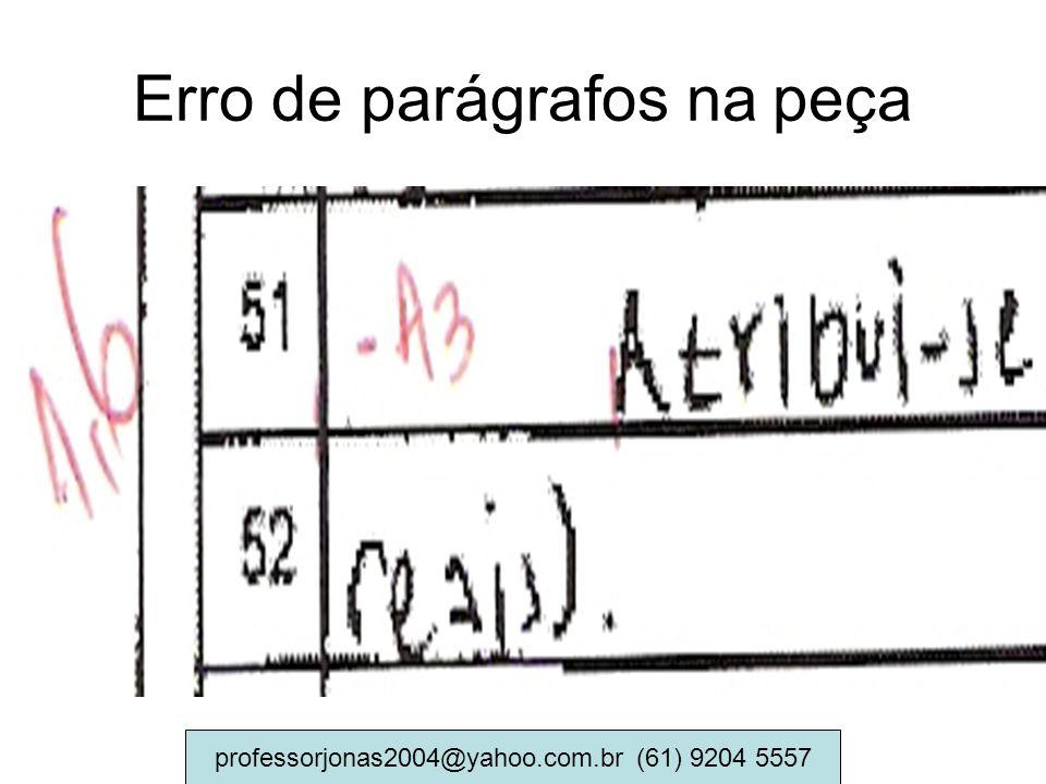 Erro de parágrafos na peça professorjonas2004@yahoo.com.br (61) 9204 5557