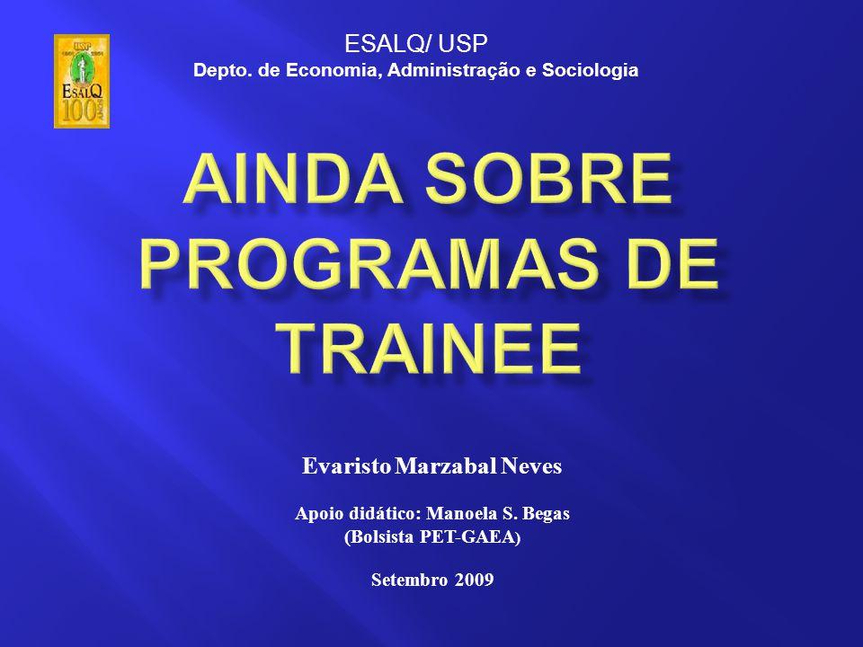 Evaristo Marzabal Neves Apoio didático: Manoela S. Begas (Bolsista PET-GAEA ) Setembro 2009 ESALQ/ USP Depto. de Economia, Administração e Sociologia