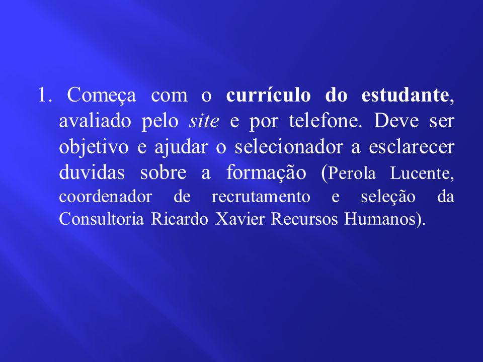 1. Começa com o currículo do estudante, avaliado pelo site e por telefone.