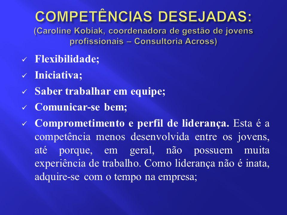 Flexibilidade; Iniciativa; Saber trabalhar em equipe; Comunicar-se bem; Comprometimento e perfil de liderança. Esta é a competência menos desenvolvida