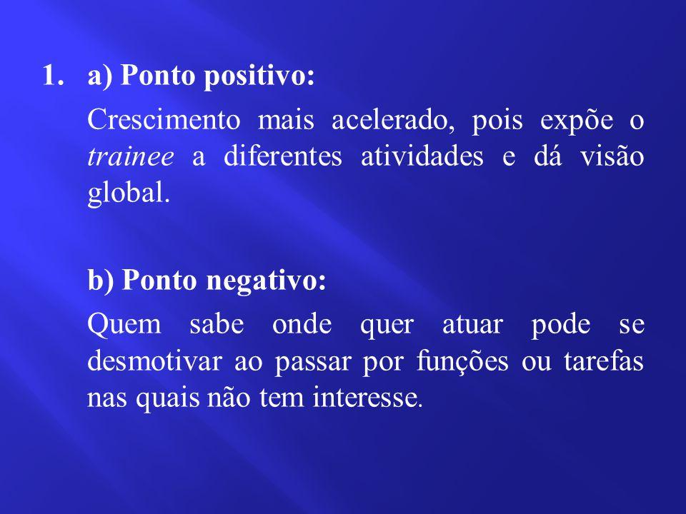 1. a) Ponto positivo: Crescimento mais acelerado, pois expõe o trainee a diferentes atividades e dá visão global. b) Ponto negativo: Quem sabe onde qu