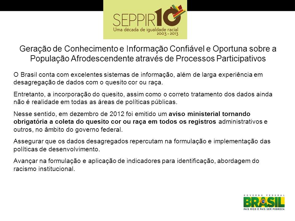 Geração de Conhecimento e Informação Confiável e Oportuna sobre a População Afrodescendente através de Processos Participativos O Brasil conta com exc
