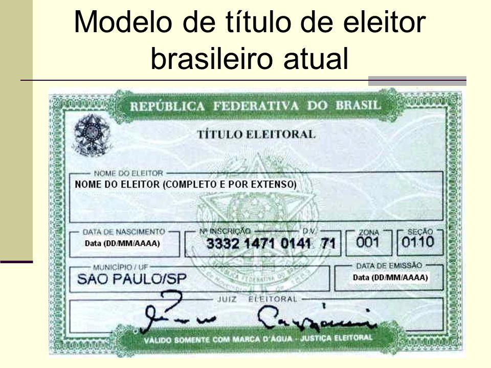 Modelo de título de eleitor brasileiro atual
