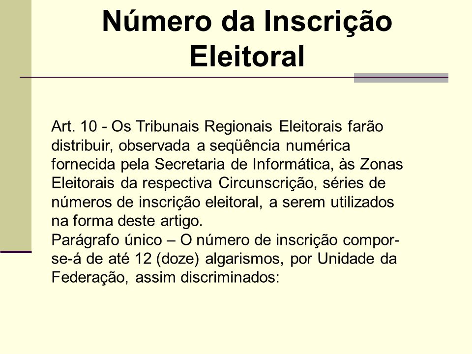 Art. 10 - Os Tribunais Regionais Eleitorais farão distribuir, observada a seqüência numérica fornecida pela Secretaria de Informática, às Zonas Eleito