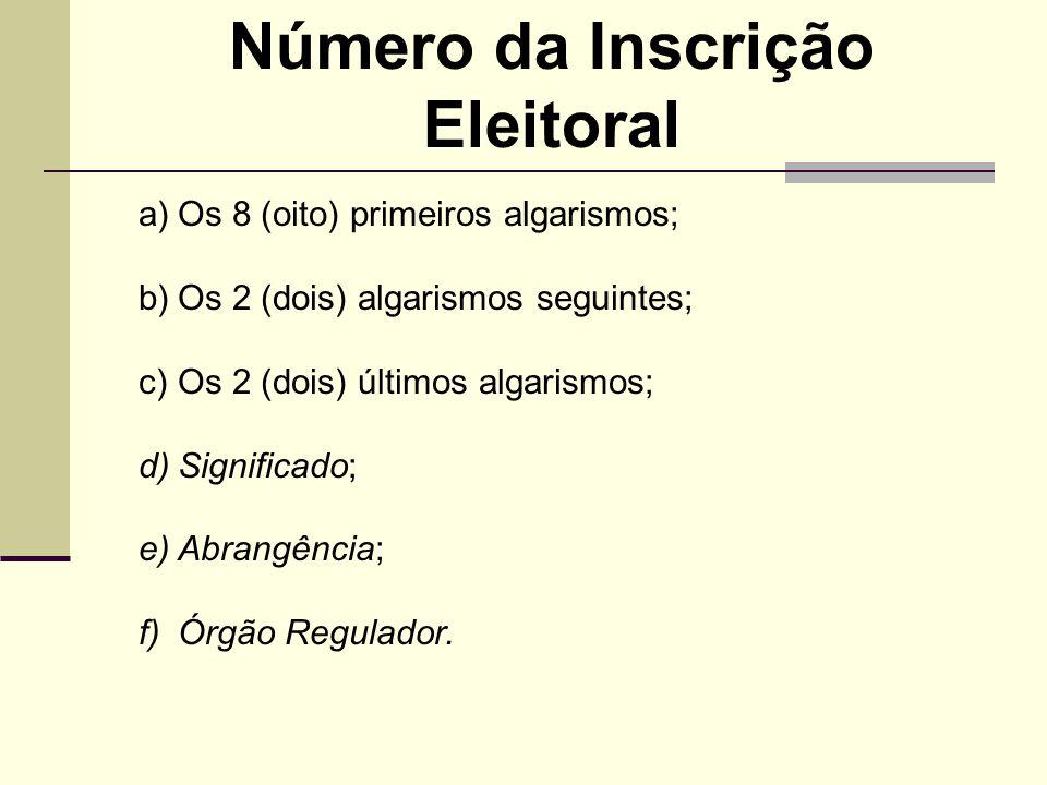a)Os 8 (oito) primeiros algarismos; b)Os 2 (dois) algarismos seguintes; c)Os 2 (dois) últimos algarismos; d)Significado; e)Abrangência; f)Órgão Regula