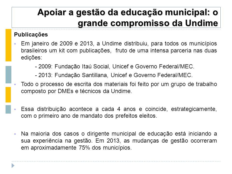 Publicações  Em janeiro de 2009 e 2013, a Undime distribuiu, para todos os municípios brasileiros um kit com publicações, fruto de uma intensa parceria nas duas edições: - 2009: Fundação Itaú Social, Unicef e Governo Federal/MEC.