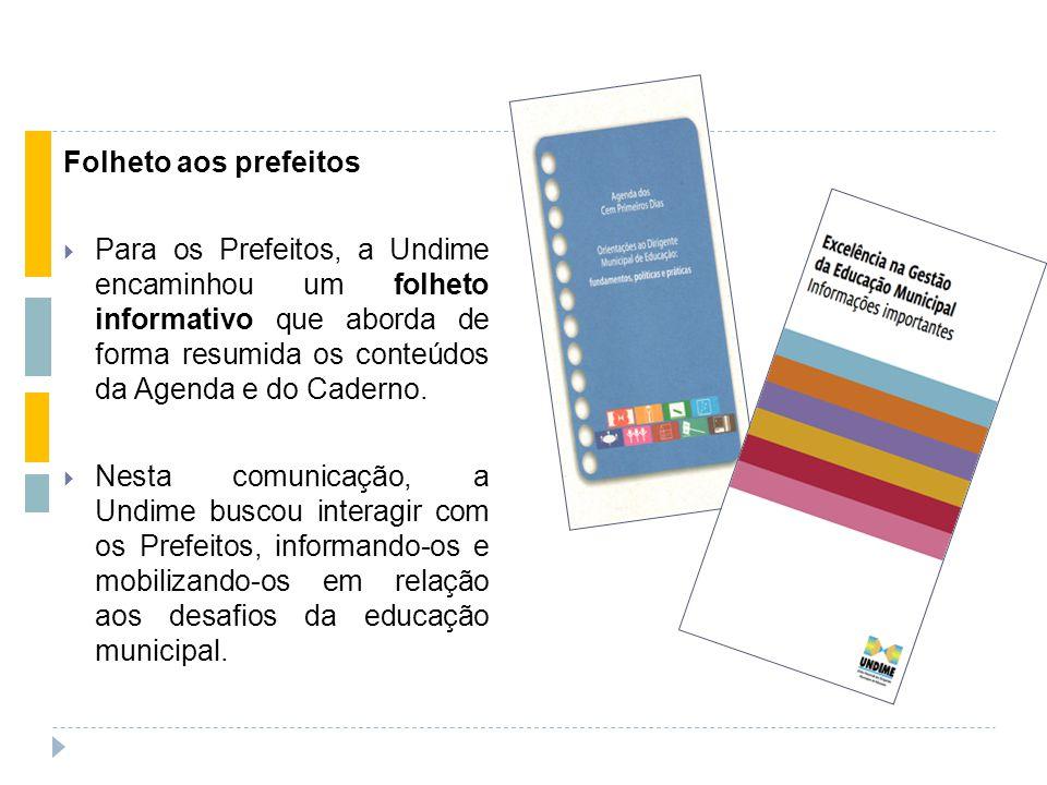Folheto aos prefeitos  Para os Prefeitos, a Undime encaminhou um folheto informativo que aborda de forma resumida os conteúdos da Agenda e do Caderno.