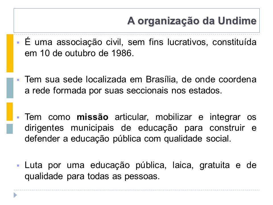 A organização da Undime  É uma associação civil, sem fins lucrativos, constituída em 10 de outubro de 1986.