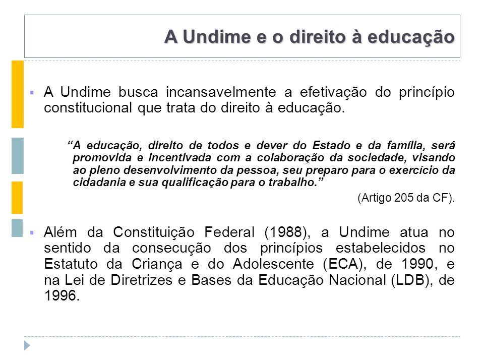 A Undime e o direito à educação  A Undime busca incansavelmente a efetivação do princípio constitucional que trata do direito à educação.