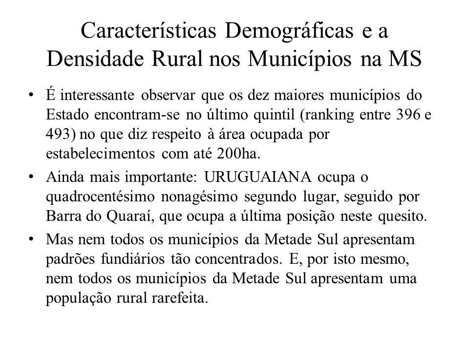 Características Demográficas e a Densidade Rural nos Municípios na MS É interessante observar que os dez maiores municípios do Estado encontram-se no