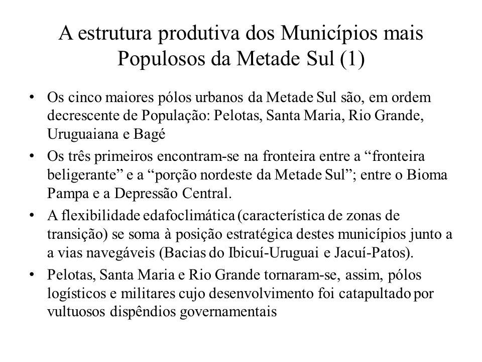 A estrutura produtiva dos Municípios mais Populosos da Metade Sul (1) Os cinco maiores pólos urbanos da Metade Sul são, em ordem decrescente de Popula
