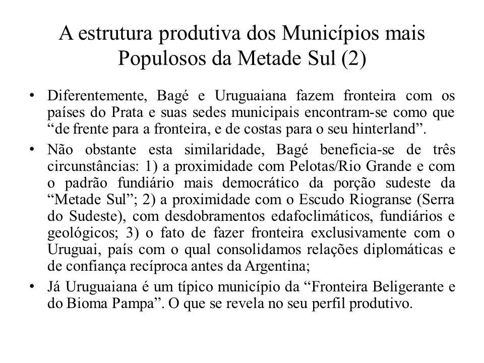 A estrutura produtiva dos Municípios mais Populosos da Metade Sul (2) Diferentemente, Bagé e Uruguaiana fazem fronteira com os países do Prata e suas sedes municipais encontram-se como que de frente para a fronteira, e de costas para o seu hinterland .