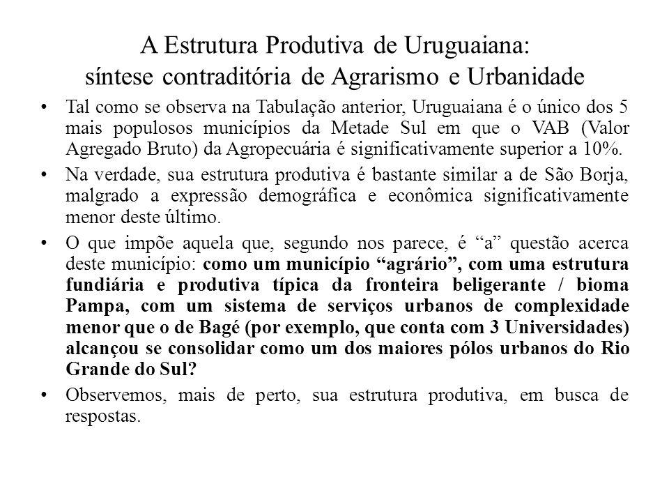 A Estrutura Produtiva de Uruguaiana: síntese contraditória de Agrarismo e Urbanidade Tal como se observa na Tabulação anterior, Uruguaiana é o único d