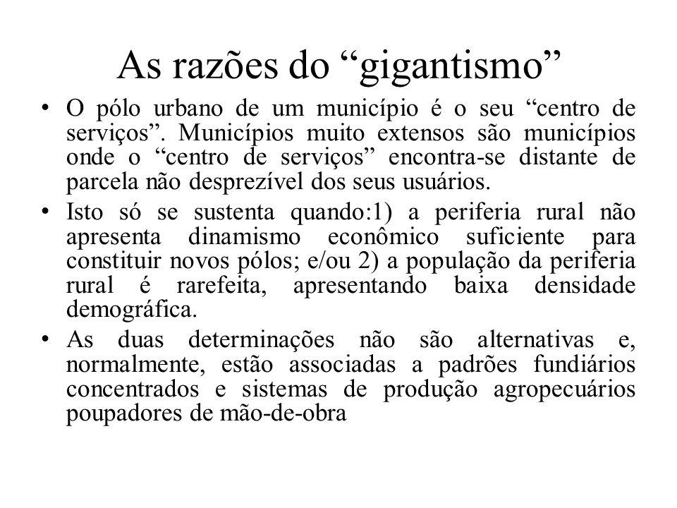 """As razões do """"gigantismo"""" O pólo urbano de um município é o seu """"centro de serviços"""". Municípios muito extensos são municípios onde o """"centro de servi"""