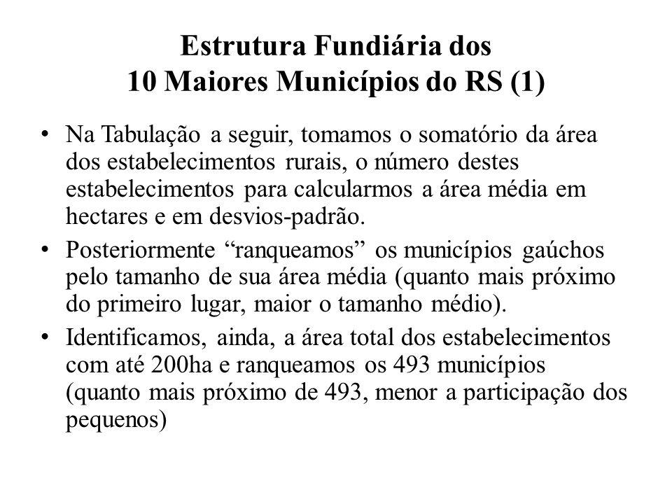 Estrutura Fundiária dos 10 Maiores Municípios do RS (1) Na Tabulação a seguir, tomamos o somatório da área dos estabelecimentos rurais, o número destes estabelecimentos para calcularmos a área média em hectares e em desvios-padrão.