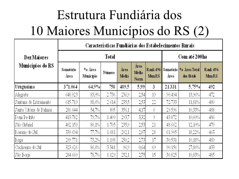 Características Demográficas e a Densidade Rural nos Municípios na MS É interessante observar que os dez maiores municípios do Estado encontram-se no último quintil (ranking entre 396 e 493) no que diz respeito à área ocupada por estabelecimentos com até 200ha.