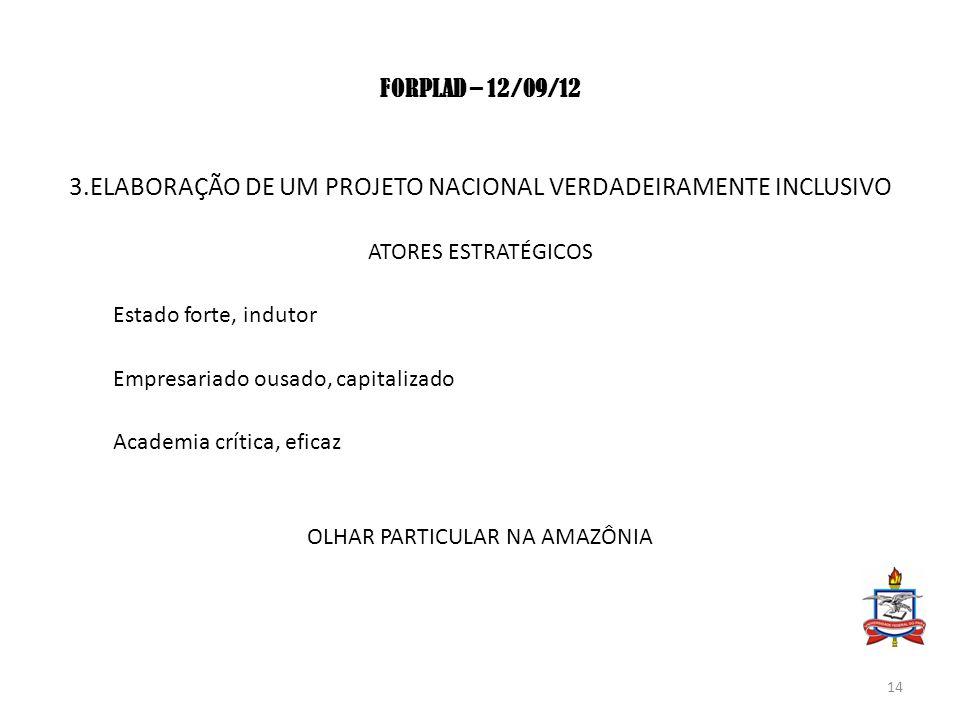 FORPLAD – 12/09/12 3.ELABORAÇÃO DE UM PROJETO NACIONAL VERDADEIRAMENTE INCLUSIVO ATORES ESTRATÉGICOS Estado forte, indutor Empresariado ousado, capita