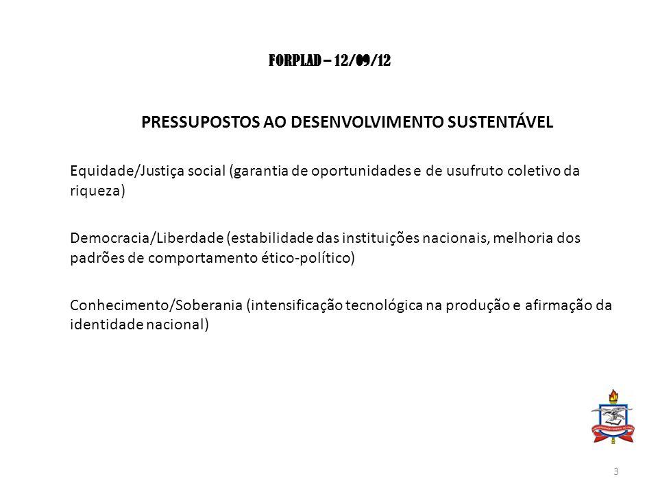 FORPLAD – 12/09/12 PRESSUPOSTOS AO DESENVOLVIMENTO SUSTENTÁVEL Equidade/Justiça social (garantia de oportunidades e de usufruto coletivo da riqueza) D