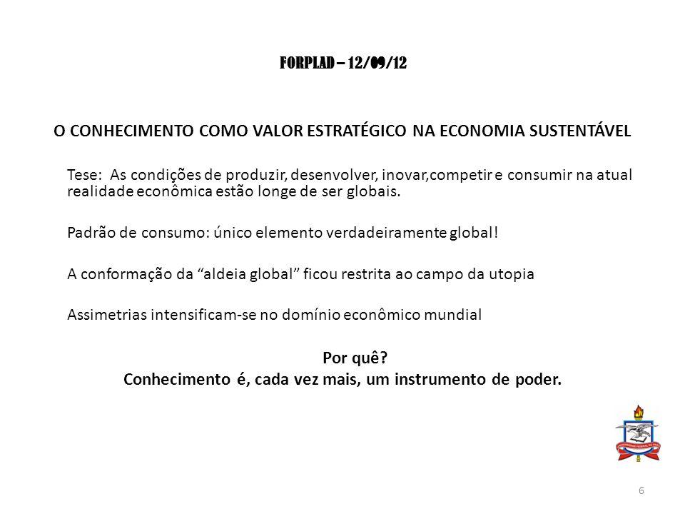 FORPLAD – 12/09/12 O CONHECIMENTO COMO VALOR ESTRATÉGICO NA ECONOMIA SUSTENTÁVEL Tese:As condições de produzir, desenvolver, inovar,competir e consumir na atual realidade econômica estão longe de ser globais.