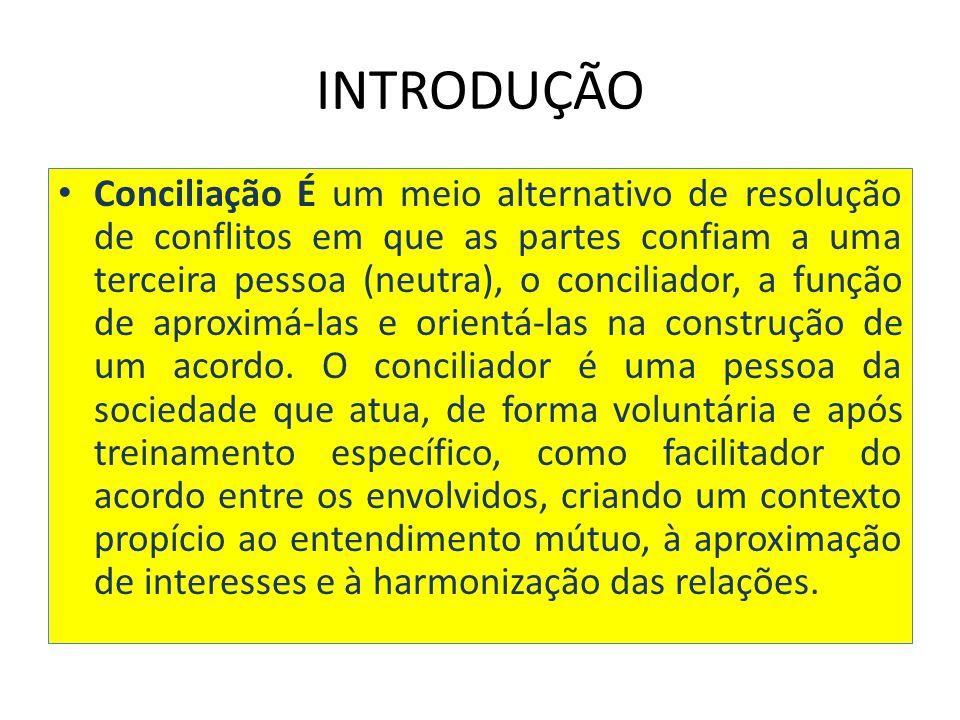 INTRODUÇÃO Conciliação É um meio alternativo de resolução de conflitos em que as partes confiam a uma terceira pessoa (neutra), o conciliador, a função de aproximá-las e orientá-las na construção de um acordo.
