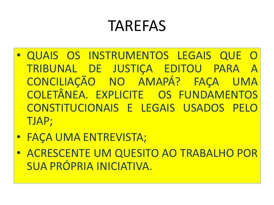 TAREFAS QUAIS OS INSTRUMENTOS LEGAIS QUE O TRIBUNAL DE JUSTIÇA EDITOU PARA A CONCILIAÇÃO NO AMAPÁ.