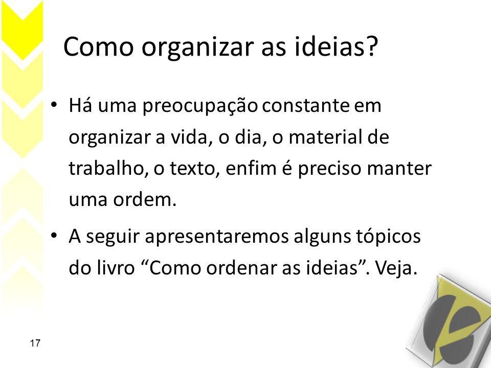 Como organizar as ideias.